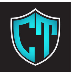ct logo monogram with shield shape isolated blue vector image