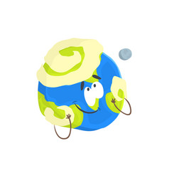 cute humanized earth planet character sphere with vector image