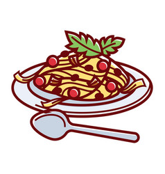 delicious italian carbonara on plate with spoon vector image