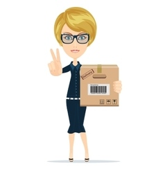 delivery service woman with box shows sign of vector image