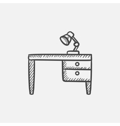 Desk lamp on table sketch icon vector image