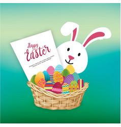 Easter egg bucket and happy bunny over jade green vector