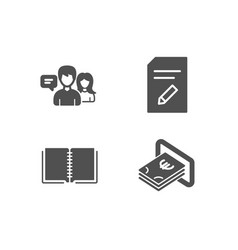 Edit document book and people talking icons cash vector
