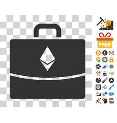 Ethereum accounting case icon with bonus vector