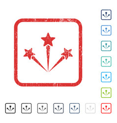 Festive fireworks icon rubber watermark vector