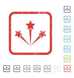 Festive fireworks icon rubber watermark vector