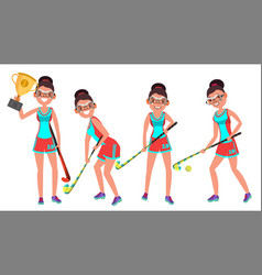 Field hockey female player playing field vector