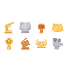 film awards and prizes icons in set collection for vector image