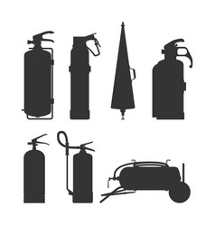 fire extinguishers and equipment silhouette vector image