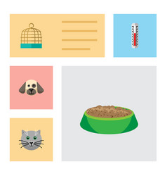 Flat icon pets set of puppy bird prison vector