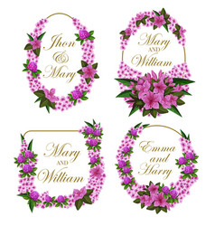Flowers frames icons for wedding save date vector