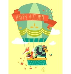 Funny friendly animals in hot air balloon Hello vector