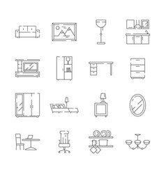 furniture icon desk office and home chair table vector image