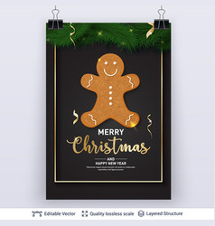 Gingerbread man cookie and text on dark banner vector