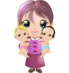 Girl and two babies vector image