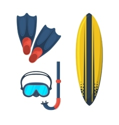 Goggles mask Flippers Surfing board vector