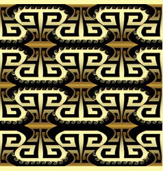 gold 3d ornamental greek seamless pattern vector image