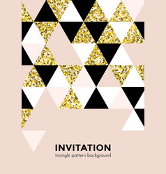 golden triangle pattern background for invitation vector image