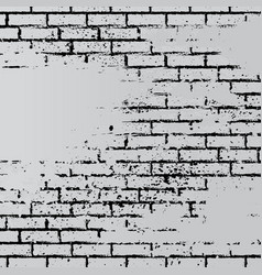 Gray grunge brick wall vector