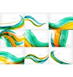 Green orange yellow colors shiny line concept vector