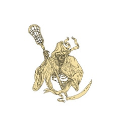 Grim Reaper Lacrosse Stick Drawing vector
