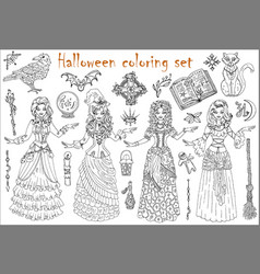 halloween coloring set with beautiful witch girls vector image