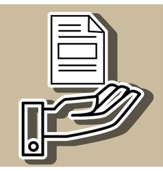 Hand and document isolated icon design vector
