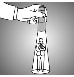 hand holding a flashlight pointing at standing vector image