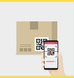 hand holding smartphone to scan qr code on box vector image
