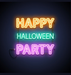 happy halloween party neon sign vector image