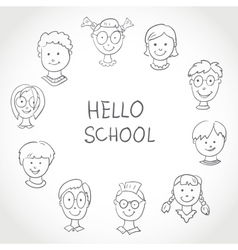 Hello school kids face set sketch vector