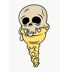 ice cream with an skull shape nice for summer vector image