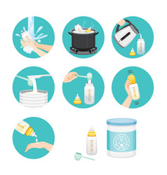 Icons set of steps to preparing baby bottle vector