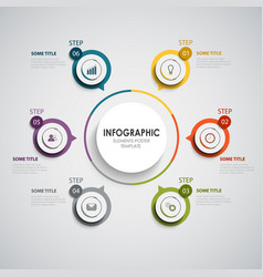 Info graphic with round color design elements vector