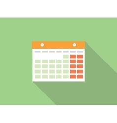 isolated calendar with green background and long vector image