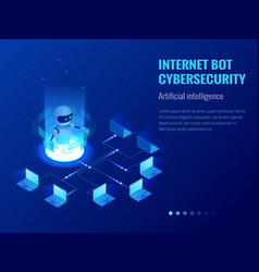 Isometric internet bot and cybersecurity vector