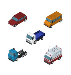 isometric transport set of autobus truck lorry vector image