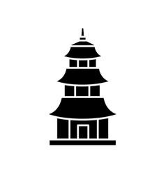 Japanese temple black glyph icon buddhist pagoda vector