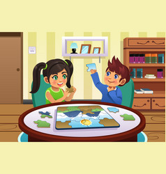 Kids solving puzzles vector