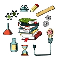 Knowledge science and education icons vector image