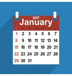 Leaf calendar 2017 with the month of January days vector image