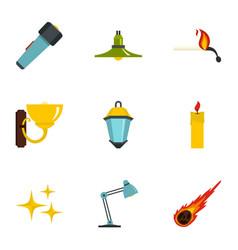 Light symbols icon set flat style vector