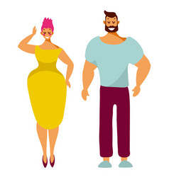 man and woman cute characters stand with smiles vector image