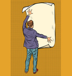man unfolded poster paper announcement on the vector image
