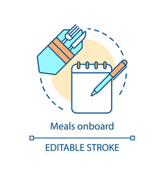 Meals onboard concept icon vector