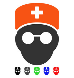 Medic head flat icon vector