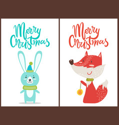 Merry christmas congratulation from cute animals vector