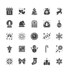 merry christmas flat glyph icons pine tree vector image