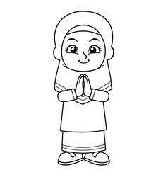 Moslem girl greeting salaam bw vector