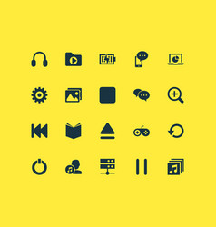 multimedia icons set with stop setting charging vector image